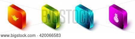 Set Isometric Magic Lamp Or Aladdin, Sword Fire, Wand And Bottle With Potion Icon. Vector