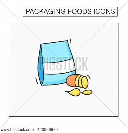Potato Chips Color Icon. Different Types Of Chips In Box. Portion Control, Protection, Tampering Res