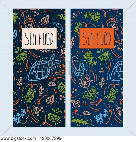 A Set Of Menus For Seafood. Vector Illustration Of Fresh Fish, Shrimp, Octopus, Clams, Crab, Lemon A