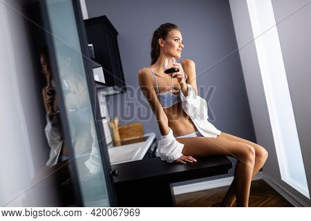Sensual Beautiful Woman With Glamour Face In Lingerie