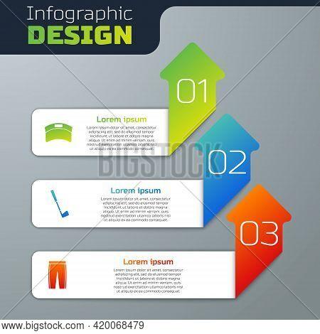 Set Sun Visor Cap, Golf Club And Pants. Business Infographic Template. Vector
