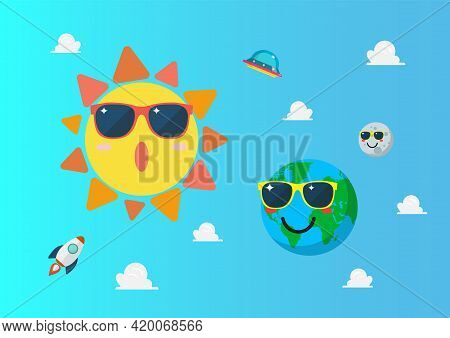 Planet Earth Wearing Sunglasses Againts Sun Character On Blue Sky. Summertime Concept. Funny Cartoon