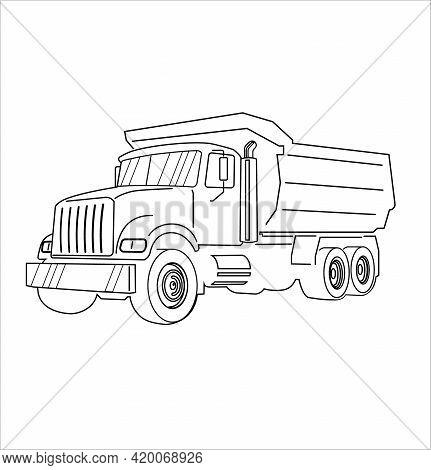 Vector Cartoon Dump Truck Outline. Tipper Truck.