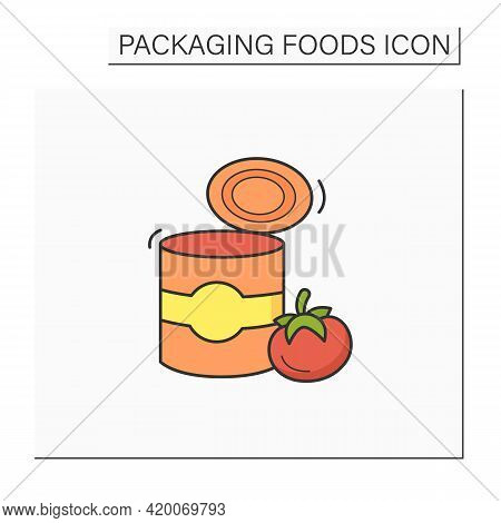 Tomato Soup Color Icon. Soup In Tin Can. Steel Container.portion Control, Protection, Tampering Resi