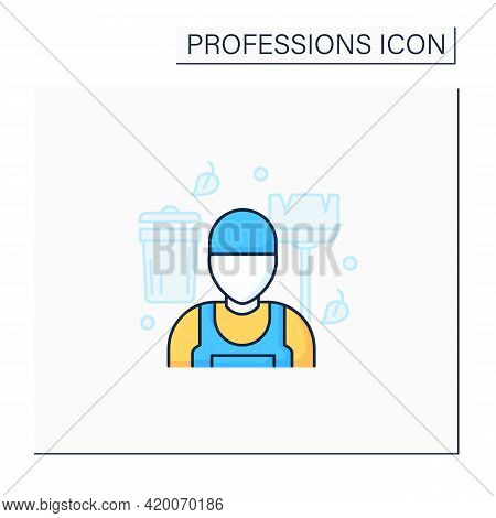 Janitor Color Icon.man Cleans And Maintains Buildings. Cleans Service.important Job. Professions Con