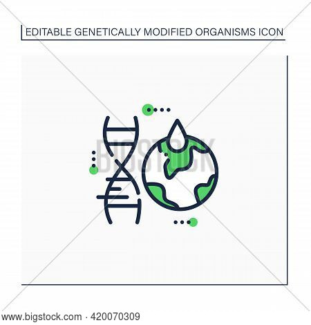 Climate Change Line Icon. Gmo Harmful Effects On Climate. Global Warming. Genetically Modified Organ