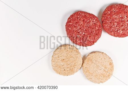Comparison Of Vegan Soy Based Burger Patty And Real Meat Patty