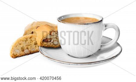 Tasty Cantucci And Cup Of Aromatic Coffee On White Background. Traditional Italian Almond Biscuits