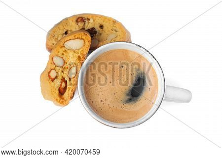 Tasty Cantucci And Cup Of Aromatic Coffee On White Background, Top View. Traditional Italian Almond