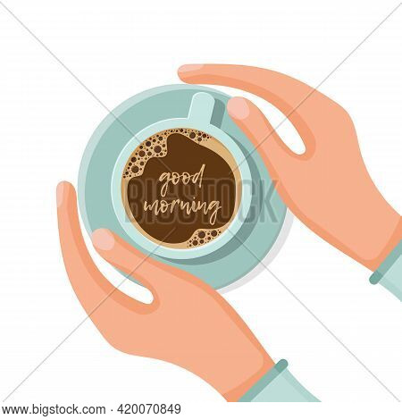 Cup Of Tea Or Coffee In Hands. Woman Warming Hands Touching A Hot Cup Of Tea Or Coffee. Time Relax.