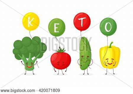 Cute Happy Broccoli, Tomato, Cucumber And Pepper Hold Keto Sign. Isolated On White Background. Vecto