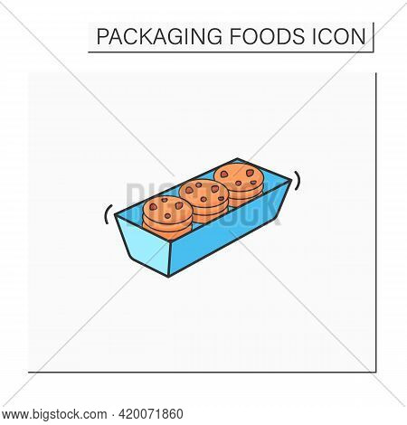 Cookies Color Icon. Tasty Cookies In Plastic Package. Portion Control, Protection, Tampering Resista