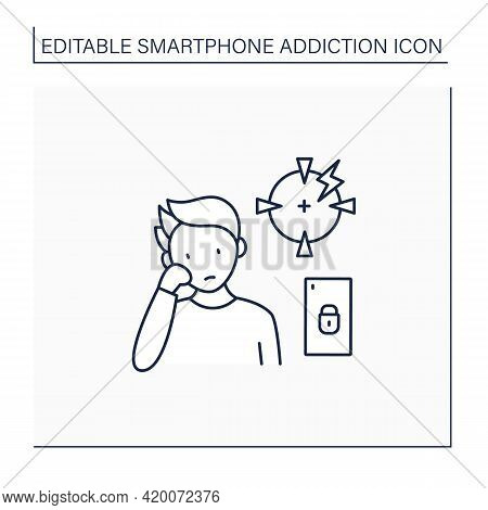 Smartphone Addiction Line Icon. Diminishing Ability To Concentrate. Inability To Focus. Unconcentrat