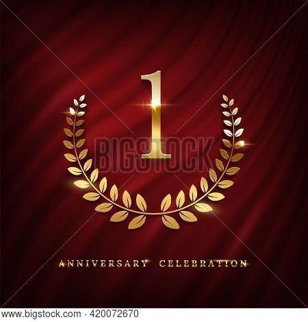 Anniversary Celebration Logo With Golden Number One Template. Birthday, Jubilee Or Wedding With Laur