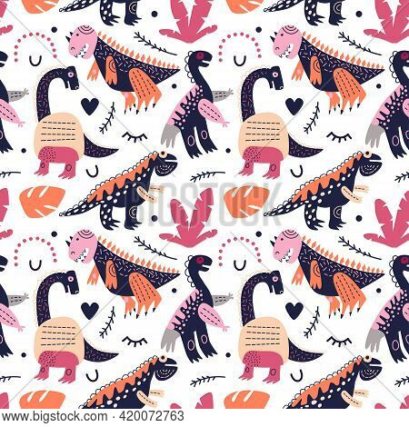 Vector Illustration. Dinosaurs Seamless Pattern. Lambeosaurus, Brachiosaurus And Tyrannosaurus Rex O