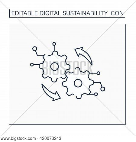 Digital Operation Line Icon.transformation Center. Digitalization. Modern Technology. Sensing And Op