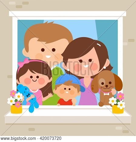 Family In Their Home Looking Out Of A Window. Vector Illustration