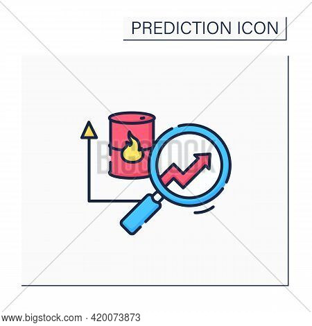 Fuel Predictive Analytics Color Icon. Market Price For Oil, Gas. Automation, Detailed Research Perfe