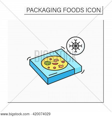 Frozen Pizza Color Icon. Tasty Food In Carton Box. Protection, Tampering Resistance From Bacteria. P