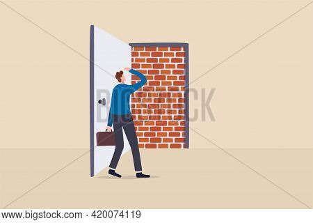 Business Dead End, No Way To Exit Or Big Mistake And Wrong Decision, Obstacle And Difficulty To Over