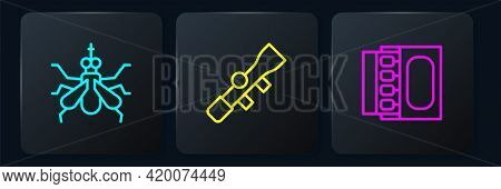 Set Line Mosquito, Matchbox And Matches And Sniper Optical Sight. Black Square Button. Vector