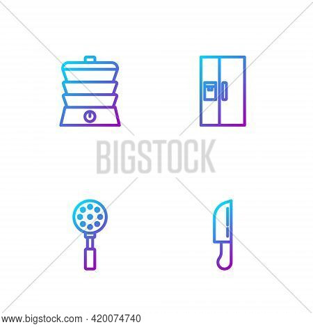 Set Line Knife, Spatula, Slow Cooker And Refrigerator. Gradient Color Icons. Vector