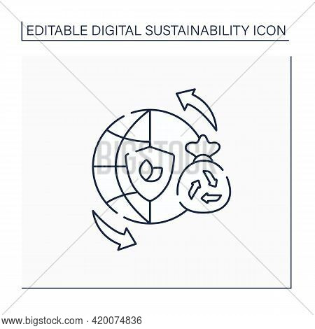 Sustainable Lifestyles Line Icon. Thinking About The World, Life Processes. Overthinking. Reducing E