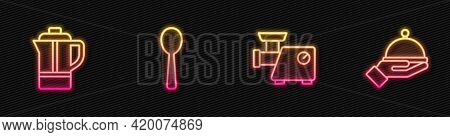 Set Line Kitchen Meat Grinder, Teapot, Spoon And Covered With Tray. Glowing Neon Icon. Vector
