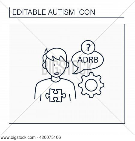 Neurodevelopmental Disorder Line Icon.using Odd Words, Phrasses. Atypical Speech. Difficult Word-con