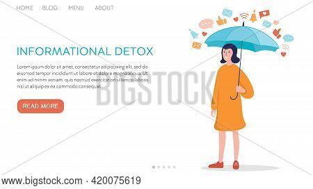 Vector Flat Illustration Landing Page Or Template Social Networks And Informational Detox. Concept: