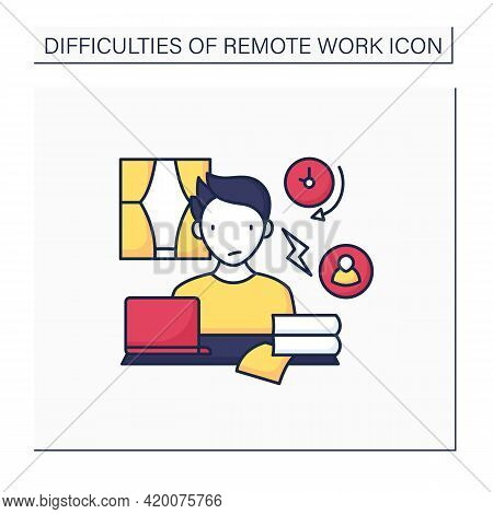 Remote Work Color Icon. Conflict Unaddressed Longer. Stressful Atmosphere At Work.career Difficultie