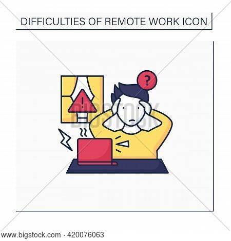 Remote Work Color Icon. Technical, Equipment Issues.work Instrument Broken. Career Difficulties Conc