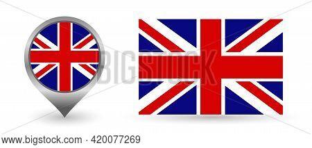 Vector Flag England. Location Point With Flag England