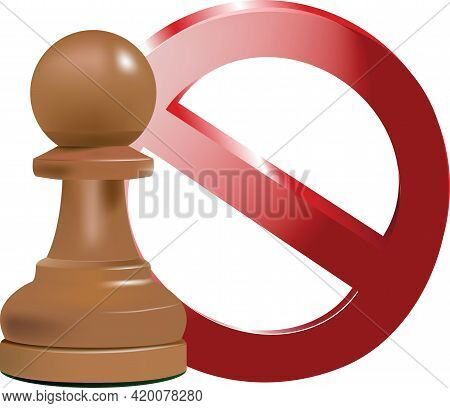 Pawn Check Stop Chess Pieces And Stop Sign