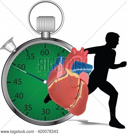 Stopwatch With Athletes Doing Sport Activity Stopwatch With Athletes Doing Sport Activity