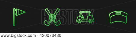 Set Line Golf Car, Flag, Crossed Golf Club With Ball And Sun Visor Cap. Gradient Color Icons. Vector