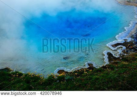 Steaming spring in wilderness at Yellowstone National Park colorful amazing natural site nature