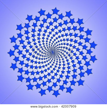 Blue Star Spiral, Rotating Abstract Pattern