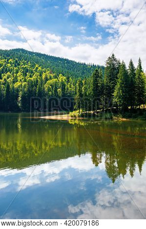 Mountain Lake In Summer. Forest Reflecting On The Water Surface. Wonderful Nature Scenery On A Brigh