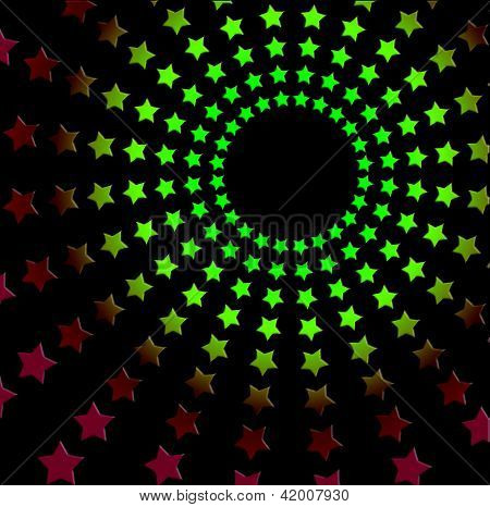 Starry Seventies Retro Radiating Design - Vivid Over Black