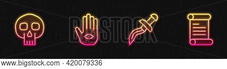 Set Line Dagger, Skull, Hamsa Hand And Decree, Parchment, Scroll. Glowing Neon Icon. Vector
