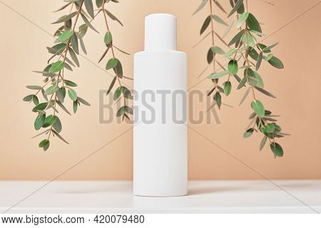 Beaty Product Package. Cosmetic Bottle On Pastel Beige Background With Plant Leaves. Cosmetics Mock