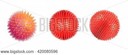 Coronavirus Cells Or Bacteria Molecule. Virus Covid-19. Virus Isolated On White. Close-up Of Flu, Vi
