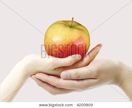 An Apple And Hands
