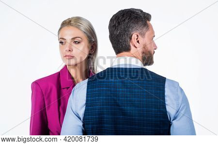 Businesspeople. Businessman And Girl Isolated On White. Contradiction And Confrontation.