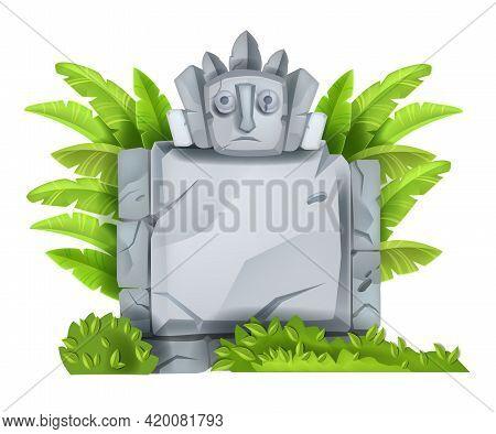 Cartoon Vector Stone Sign Board, Maya Game Ui Rock Element, Maya Totem Face, Jungle Leaves, Bushes.
