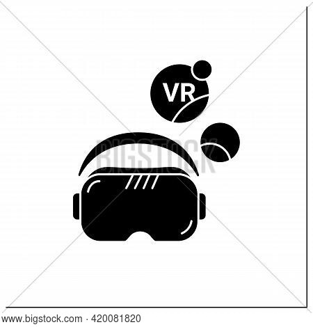 Vr Glasses Glyph Icon. Head-worn Apparatus That Completely Covers Eyes For An Immersive 3d World. Mo
