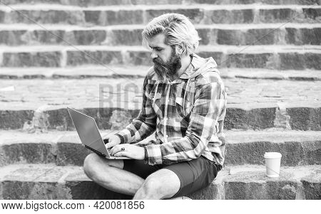 Freelancer Man Working On Computer. Businessman Using Notebook. Take Away Coffee. Escaped Of Office.