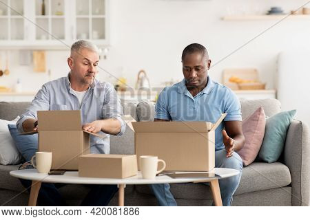 Bad Delivery Service, Dissatisfied Client Unpacking Box, Received Damaged Item, Feeling Upset With W