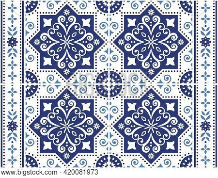 Retro Elegant Navy Blue And White Background Inspired By Spanish And Portuguese Tile Decor